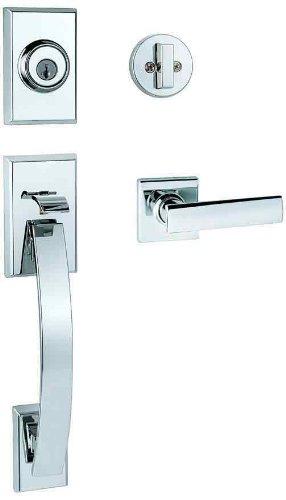 Kwikset Tavaris Single Cylinder Handleset W/Vedani Lever Featuring Smartkey® In Polished Chrome