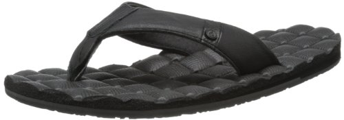 Volcom Men'S Recliner Leather Flip Flop,Black,10 M Us front-20702