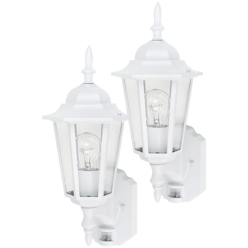 Buy Globe One-Light Outdoor Upward Wall Sconce with Motion Detector, White, 2-Pack #4997101