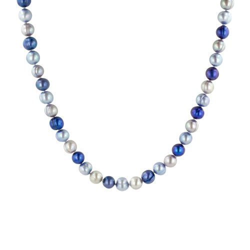 Grey, Blue and Royal Blue Freshwater Cultured Ringed Pearl Necklace (8-9mm ), 54