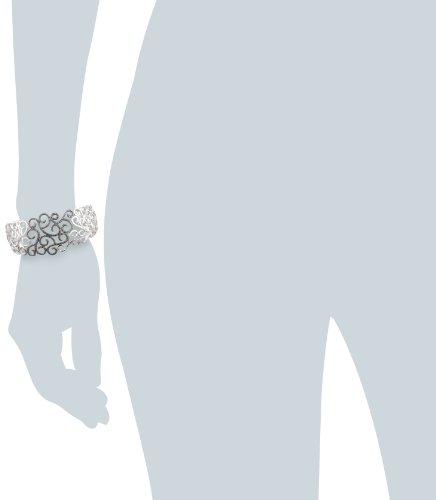 Imagen de Sterling Silver Diamante Negro Pulsera Brazalete Accent Filigrana