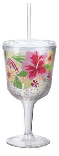 Insulated Wine Glass With Straw front-458712