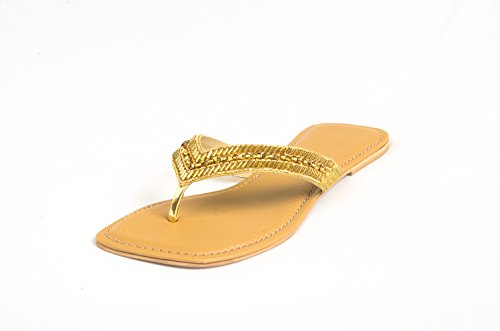 Route Flat Heel Ladies Synthetic Chappals Fitted With Beads And Stones - [YH-H-C-008]