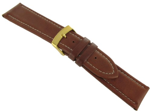 Town And Country  Watches hot deal: 22mm Waterproof Town and Country Stitched Padded Genuine Leather Tan Watch Band Strap