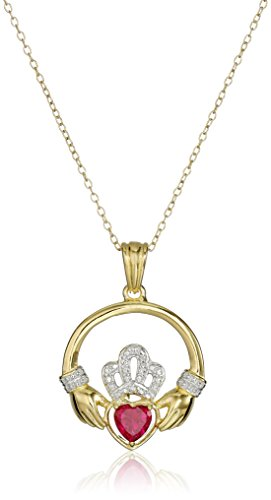 18k Yellow Gold and Rhodium Plated Sterling Silver Gemstone Claddagh Pendant Necklace, 18″