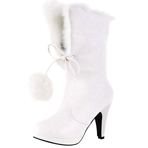 Stivali da Neve Scarpe col Tacco Alto Stivali Scarpe da Sposa Donna Lace up Winter Boots -LATH.PIN