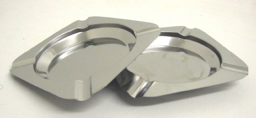 2 PIECES STAINLESS STEEL 11.5CM DIAMETER ASHTRAY-ASH TRAY