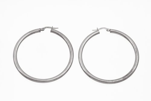 9ct White Gold UER 023W Ladies' Hoop Earrings