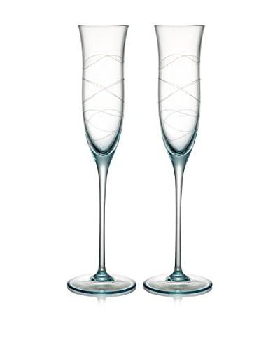 Nambe Set of 2 Motus 6-Oz. Champagne Flutes, Blue