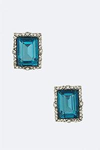 Chic Chelsea Square Crystal Stud Earrings - M (Rhodium/Teal)
