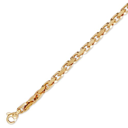 14K Solid Yellow Gold Hip Hop Bullet Chain Bracelet