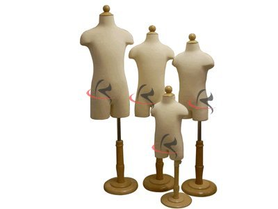 (Jf-11C Group Of 4 Units) Child Body Forms White Jersey Form Cover, W/ Hips, Wooden Base, 4Pcs. Jf-11C6M Jf-11C2T Jf-11C4T Jf-11C7T