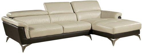 Sofa Best Elloise 2 Piece Two Tone Leather Sofa Set
