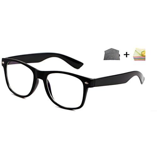 Z.T.S パソコンメガネ ブルーライト カット UV カット 黒縁 ウェリントン 型 PCメガネ 【 嬉しい 羊毛(灰色)ケース 眼鏡拭き 三点 セット 】