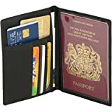 Falcon FI4003L Black Travel leather passport holder / document wallet / cases