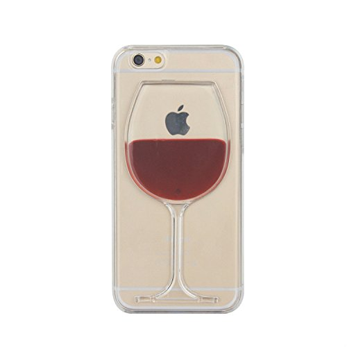 Tailcas® Cover per iPhone 5 /5S, 3D Creative Design Ultra Slim Liquido Liquid Bicchiere Di Vino Rosso Clear Trasparente di plastica dura della Custodia Case Cover for iPhone 5 /5S - (Red Wine Goblet)