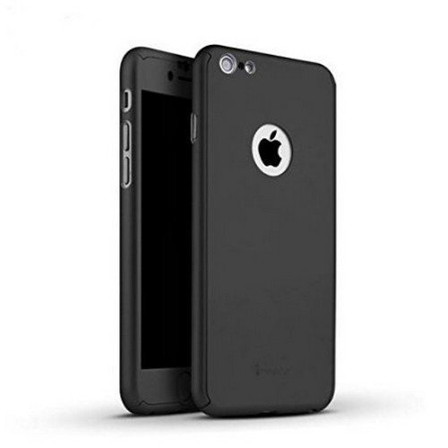 *CASECART* 360 Degree Slim Case with Tempered Glass for Apple iPhone 6 (4.7″ model) Hard Full Body Protection / Protective Cover – BLACK