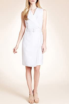 Autograph Linen Blend Belted Wrap Effect Dress [T50-2269-S]