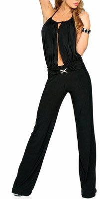 Sexy Black Plunge Retro Jumpsuit Pants with Silver Rhinestone Buckle Petite S/M