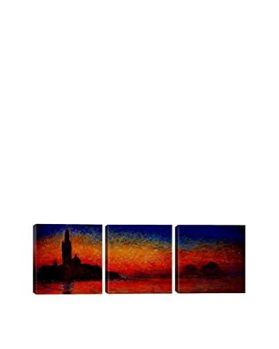 Claude Monet Sunset In Venice (Panoramic) 3-Piece Canvas Print