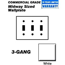 Leviton PJ3-W 3-Gang Toggle Switch Wallplate, Midway Size, White