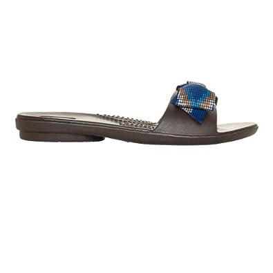 Madison Hot Chocolate w/ Blue & Camel Tribal Print Ribbon, XS Size 4 - 5 Women's (XS)