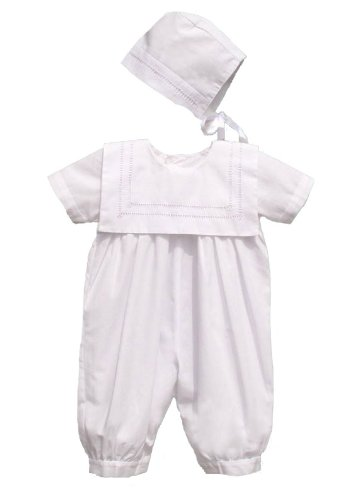 Square Collared Christening Romper with Bonnet - Size 9 Months