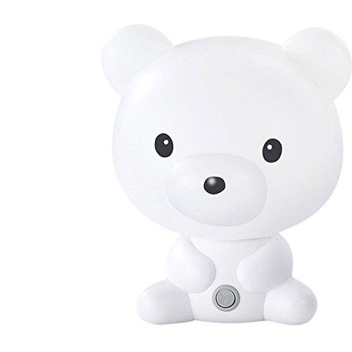 LATH.PIN Beau Dessin Animé de Kungfu Panda Forme Portable de Bureau de Lampe de Lumière de Lampe (Ours Blanc)