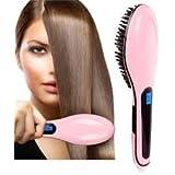 Flipco Ceramic Hair Straightener Brush - Anti Static & Anti Scald - 3 In 1 Straightening, Detangling And Styling...
