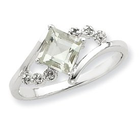 Sterling Silver Rhodium Princess-cut Green Amethyst & Diamond Ring (8)