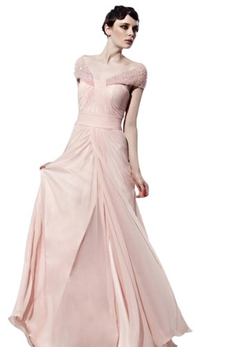 CharliesBridal White Off-The-Shoulder Long Backless Evening Dress - M(6-8) - Nude