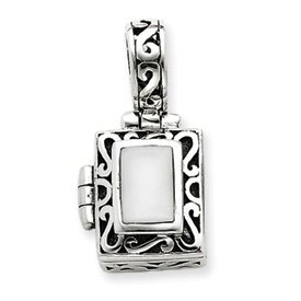 Sterling Silver Antiqued Cats Eye Locket - JewelryWeb
