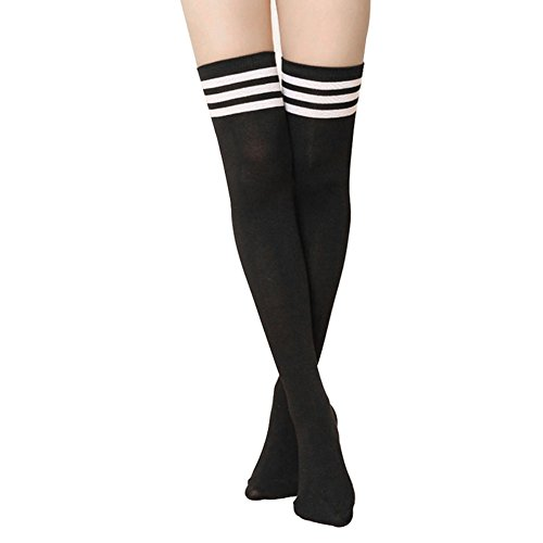 FUNOC® Women Girls Thigh High Striped Cotton Socks Over Knee Stockings Black
