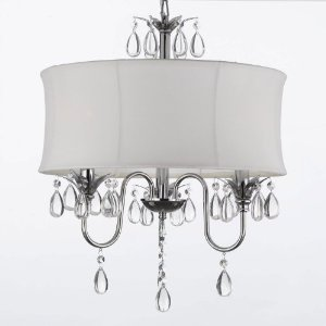 white drum shade crystal ceiling chandelier pendant light fixture