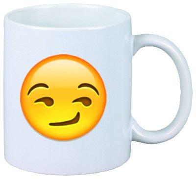 """Tazza/ Mug """"compiaciuto / furbescamente volto sorridente"""" di ceramica, Smiley, Emoji, decorazione, culto, Tazza da caffè Tazza da tè, IPhone, emoticon."""