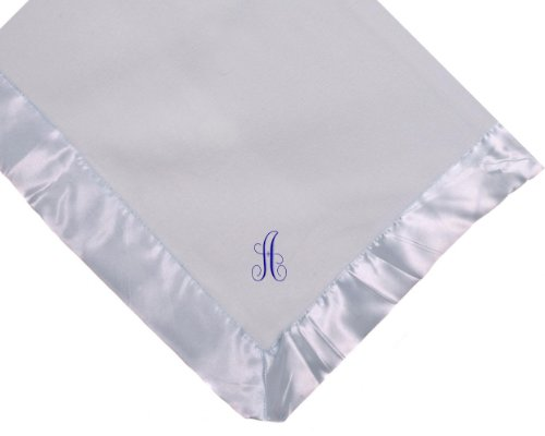Custom Embroidered Blue Fleece Monogrammed Personalized Baby Blanket Yellow Thread front-408532