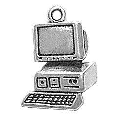 Computer sterling silver charm. IT. Desktop. Free UK PP
