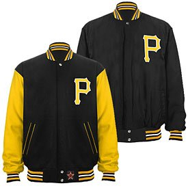 Pittsburgh Pirates Wool Nylon Reversible Varsity Jacket by The Pittsburgh Fan
