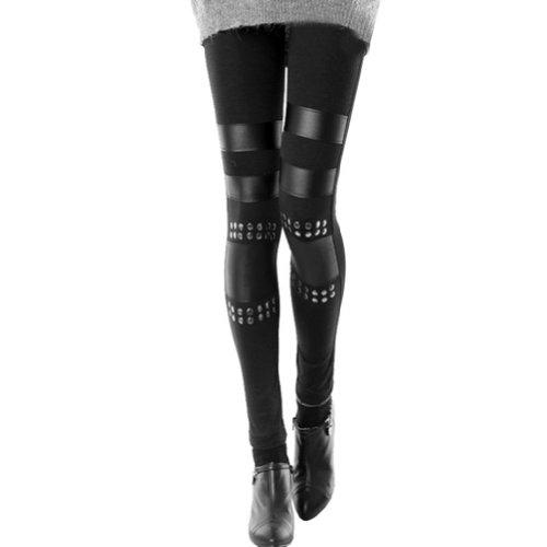 LOCOMO Women Black Punk Knee Rivet Stud Spike PU Leather Inset Legging FFT115