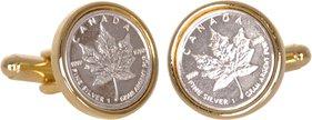 Canadian Maple Leaf Silver Bullion Cufflinks