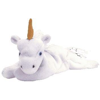 TY Beanie Baby - MYSTIC the Unicorn (tan horn & yarn or furry mane)