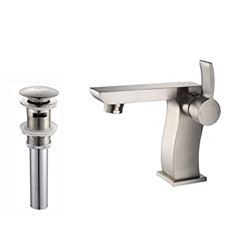 Kraus KEF-14601-PU16BN Kraus Sonus Single Lever Basin Bathroom Faucet and Pop Up Drain with Overflow, Brushed Nickel