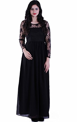 JAMES-SCOT-Prestige-Round-Neck-Full-Sleeves-Solid-Black-Colour-Maxi-long-Dress-For-Women