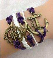 Purple, White & Bronze Designer Inspired Multi-strand Cord Bracelet, Men, Womens, Boys or Girls Bracelet. 3pcs Infinity, Anchor and Compass Charm Bracelet. Antique Gold Purple Braided Charm Bracelet from AL001