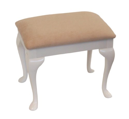 Champagne Chenille Top Dressing Table/Bedroom Stool with White Legs