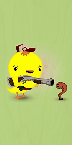 """""""Early Bird Worm Hunter"""" Funny Saying Parody Cute Animals - Plywood Wood Print Poster Wall Art front-156495"""