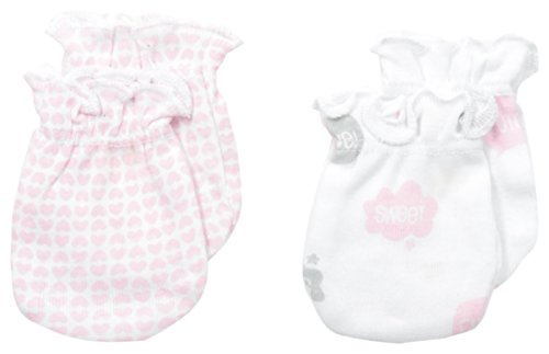 Petit Lem Baby-Girls Newborn Bow Heart 2 Pack Mittens, A Bow Heart, One Size