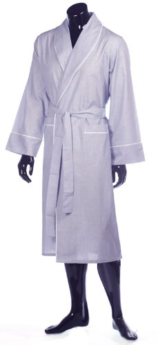 Lloyd Attree & Smith Lightweight Cotton Dressing Gown - Fine Navy Stripe with White Piping