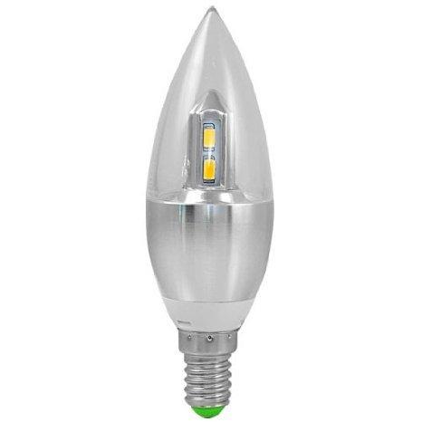 1X SunorLight® E14 4W LED Kerze wie Birne 8X5630 SMD Lampe Leuchtmittel Mit Aluminium und PC Mantel (300LM, Kaltweiß 6500K, AC 85-265V , 360º Abstrahlwinkel, Ø37×118mm) Super energiesparend licht gut für die Wärmeabgabe