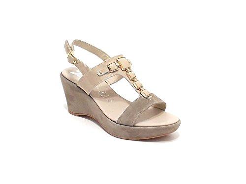 Susimoda scarpa donna, modello sandalo 256395, in camoscio e vernice, colore beige